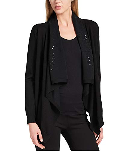 DKNY Womens Sequined Long Sleeves Cardigan Sweater Black ()