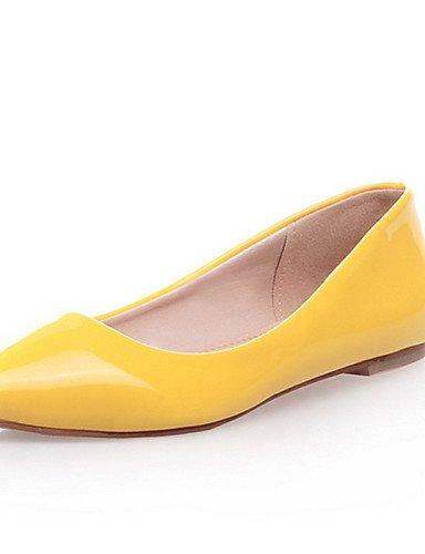 Cn36 Negro Casual Mujer verde Flats Pdx Charol amarillo Yellow Plano rojo De de Uk4 us6 Punta azul Zapatos Talón almendra Eu36 Toe fxvP1