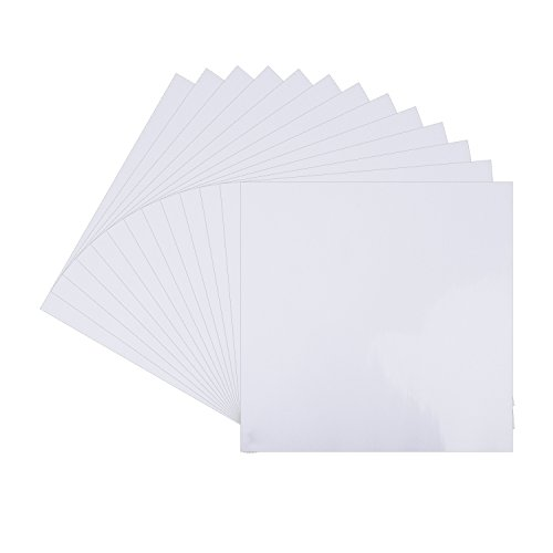 "White Glossy Vinyl Sheets - 12 Pack 12"" X 12""- Permanent Adhesive Backed Vinyl Sheets for Cricut,Silhouette Cameo,Craft Cutters,Printers,Letters,Decals"