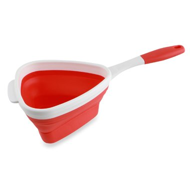Dexas Silicone Collapsible Expandable Pop Strainer, Red and White, Triangle Shape, 6 1/2 Cups