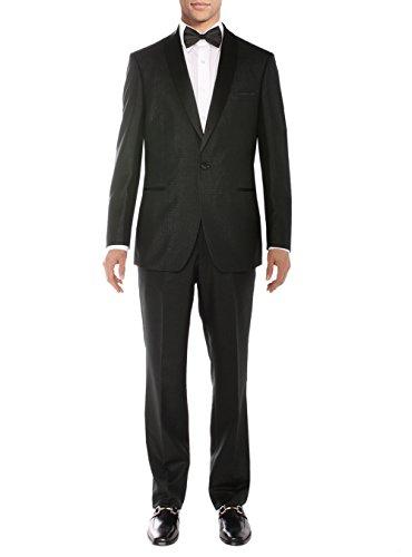 Salvatore Exte Men's One Button Tuxedo Suit Shawl Lapel Jacket Flat Front Pants (52 Regular US/62R EU/W 46'', Black) by Salvatore Exte