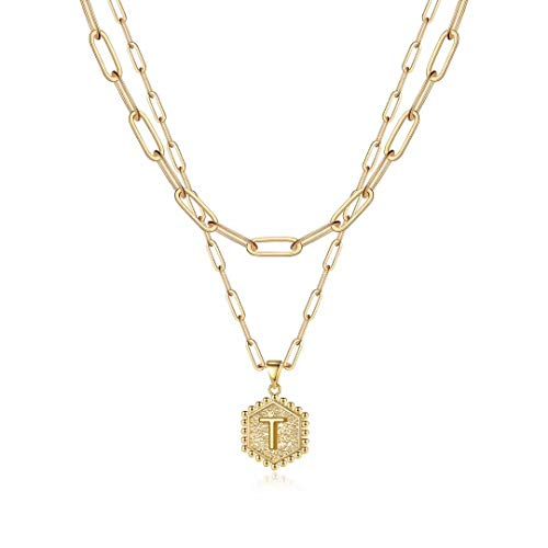 Dainty Layered Initial Necklaces for Women, 14K
