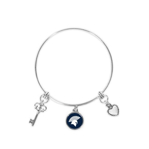 Missouri Baptist Silver Bangle Bracelet With Three Charms 'Spartan Icon'