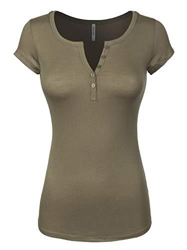 Instar Mode Women's Basic Henley Short Sleeve Deep V-Neck Button Placket T-Shirt Olive S