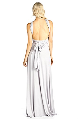 Made Long Convertible Ami Maxi Way Dress Solid In USA 12 Multi Silver T Shirt 4vqwf6xHx1