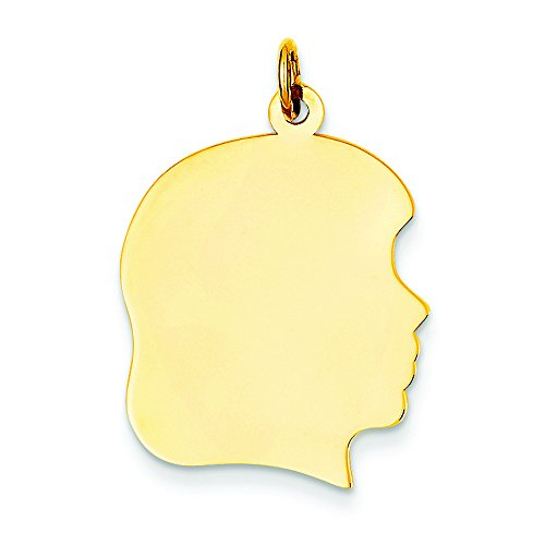 14k Plain Large .009 Gauge Facing Right Engravable Girl Head Charm by Shop4Silver