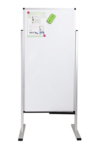 Viz-pro Double-sided Magnetic Mobile Whiteboard, 48 X 24 Inches, Aluminium Frame & Stand