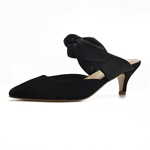 MarHermoso Womens Vintage Elegant Kitten Heel Ankle Tie Mules (Kitten Mule)