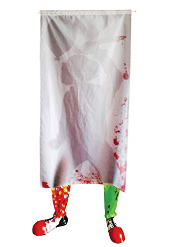 Creepy Clown Door Curtain with Clown Shoes Scary Halloween Decoration ()