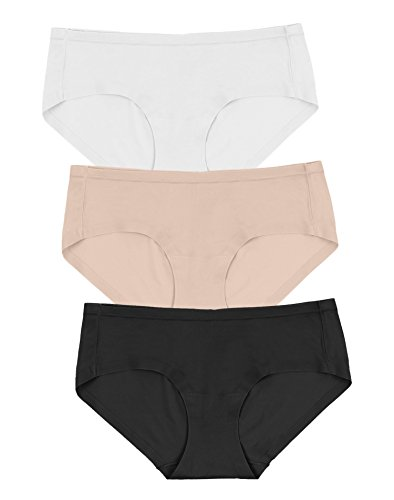 Maidenform Womens Comfort Devotion Sweet Nothings 3-Pack Hipsters, S, White/Body Beige/Black