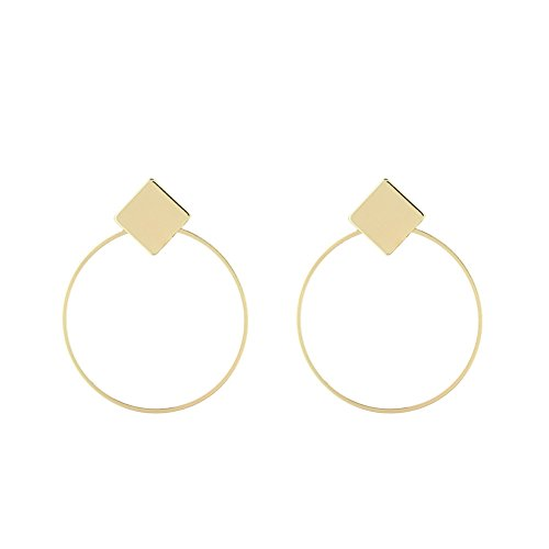 Geometric Hollow Big Hoop Earrings Gold Plated Square Stud Earrings Dangle Jewelry for Women (gold)