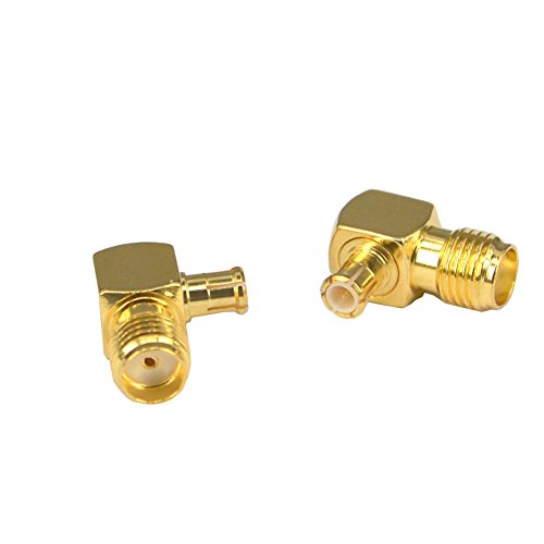 SMA Female to MCX Male Right Angle 90-Degree Adapter Gold Plated Contacts for Amateur Radio SDR dongle Pack of 2