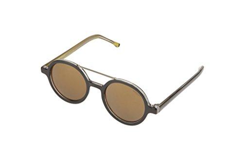 Komono KOM-S2102 Round Sunglasses, Black Gold Frames/Gold Lens - Sunglasses Komono