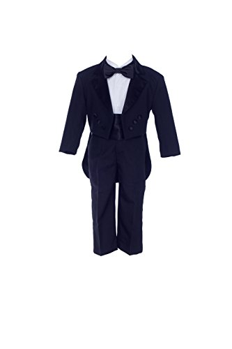 Black Boy Teen Tuxedo Suit With Tail Formal 5-Piece Set Wedding Pageant Party 3 (Piece Five Tuxedo Set)