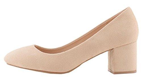 SHU CRAZY Womens Ladies Faux Suede Mid Block Heel Slip on Dressy Pumps Court Shoes - N5 Beige