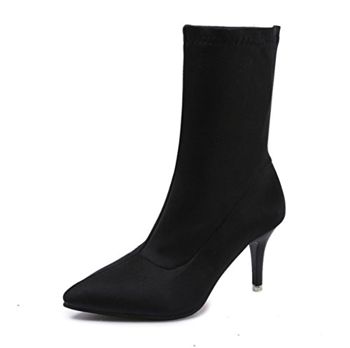 XZ Autumn and Winter Slim High Heel Elastic Boots Pointed Martin Boots In The Tube Female Boots Black