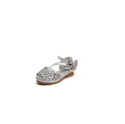 - Girls Flat Shoes Children Leather Shoes Girls Princess Flat Heel Party Shoes Bow Pearl Kids Shoes for Girls,Silver,12