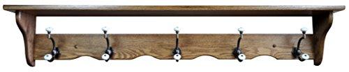 Wood Coat Rack Shelf Wall Mounted, Traditional, 5 Hook, Oak Wood, Fruitwood Stain For Sale