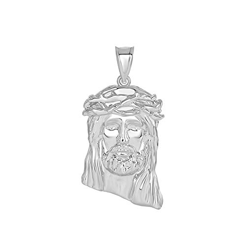 Fine 925 Sterling Silver Iced Out Jesus Face Charm Pendant, 1.20