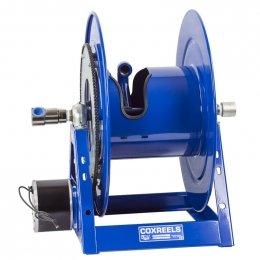 "Compressed Air Motor Rewind Hose Reel: 1"" I.D., 50' hose capacity, less hose, 3000 PSI"