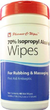 70% Isopropyl Alcohol Wipes, Alcohol Wipes Cannister 40Ct, (1 CASE, 6 EACH) by Pharma-C-Wipes