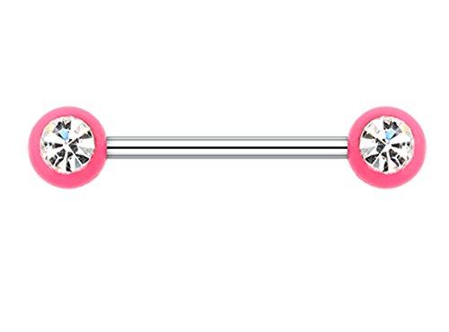 Acrylic Glass-Gem Ball Nipple Barbell Ring - 14 GA (1.6mm) - Ball Size: 3/16