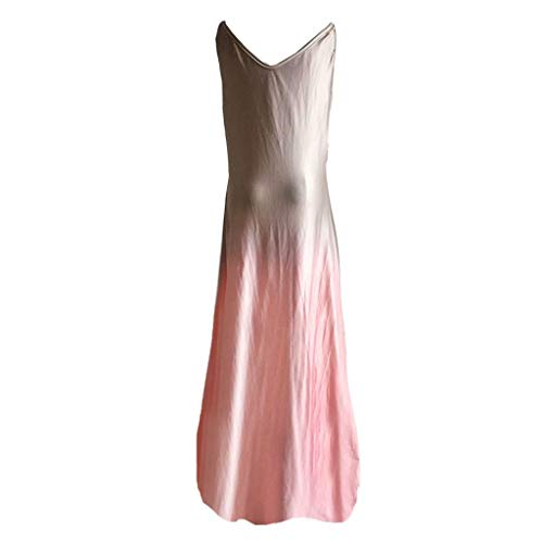 Yanwuuh Tie Dye Dresses for Women Casual, V Neck Sleeveless Summer Dress Colorful Beach Party Trendy Long Dress Pink