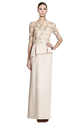 Teri Jon Embellished Lace Asymmetric Peplum Long Dress Gown