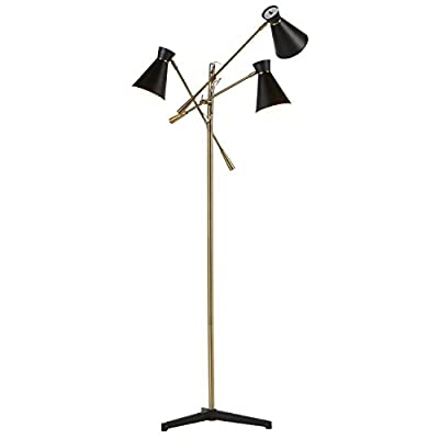 Amazon Brand – Rivet Mid Century Modern Retro 3 Arm Living Room Floor Lamp With Light Bulbs - 69 Inches, Brass with Black Shade - This retro lamp makes a bold style statement while lighting up your room in up to three different directions. A rotary switch on the top of each individual shade allows you to choose from 1, 2 or 3 lights on. Mid-century style Antique brass finish with cast iron tripod legs - living-room-decor, living-room, floor-lamps - 31TCGKFUVWL. SS400  -