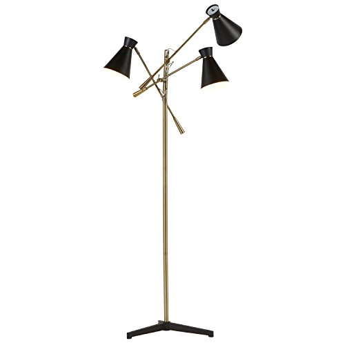 Rivet Retro 3-Arm Floor Lamp, 69″ H, With Bulbs, Brass Noticeable