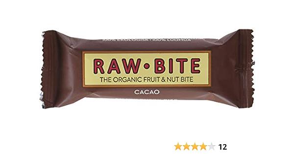 Raw Bite Barrita Ecológica de Cacao - Paquete de 12 x 50 gr - Total: 600 gr