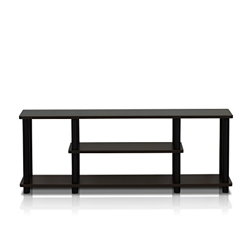 Furinno 12250R1WN/BK Turn-N-Tube No Tools 3D 3-Tier Entertainment TV Stands, Walnut - Open 55' Console Entertainment