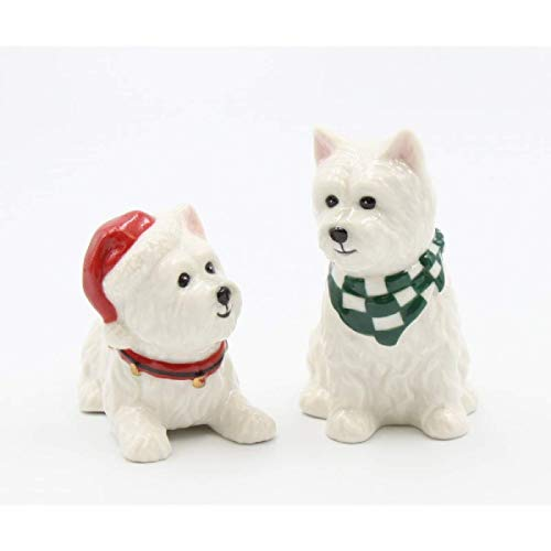 Cosmos Gifts 56576 Christmas Salt and Pepper Shaker - West Terriers, 3-1/2 inches high, White