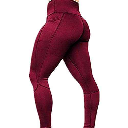 NUWFOR Women's Solid Workout Leggings Fitness Sports Gym Running Yoga Athletic Pants(Wine,L US Waist:27.5-31.5