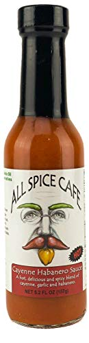 (Gourmet Hot Sauce, Cayenne Habanero -ALL SPICE CAFÉ - Hot and Spicy, Delicious blend of Cayenne Peppers, Garlic, & Habanero. (HOT SPICE) 5 ounce bottle (Pack of 1))