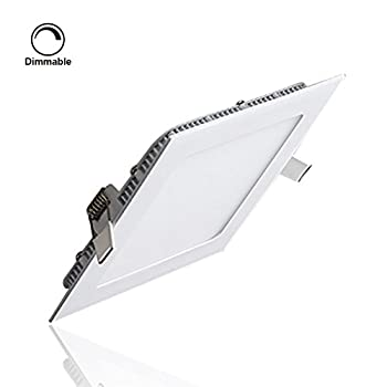 S&G LED Panel Lights Dimmable, 6W 400LM 3000K(Warm White), Hole Size:105MM, AC85-265V, Square Ceiling Light Fixtures