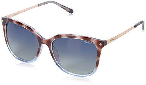- Polaroid Sunglasses Women's Pld4043s Polarized Square Sunglasses, Shiny Black Havana Gold/Blue Gradient Polarized, 57 mm