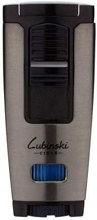 LUBINSKI Windproof Cigar Lighter with Leather Case, Butane B