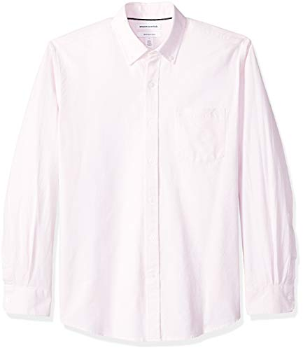 (Amazon Essentials Men's Regular-Fit Long-Sleeve Solid Pocket Oxford Shirt, Pink, X-Large)