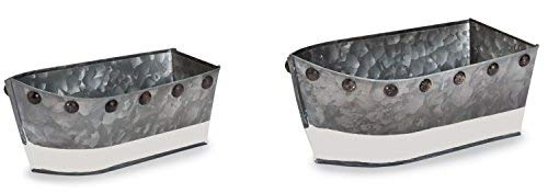 - Mud Pie 4855069 Boat Shaped Serving Cups Galvanized Tin and Enamel (Set of 2), One Size, Silver