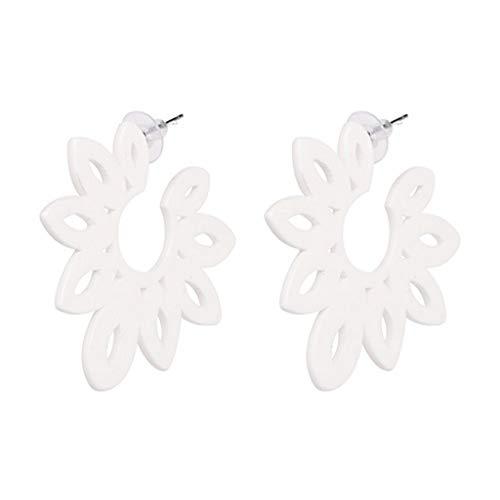 SuperLina Trend Fashion Resin Flower Earring Vintage Statement Tassel Earrings for Women Girls Female,WH ()