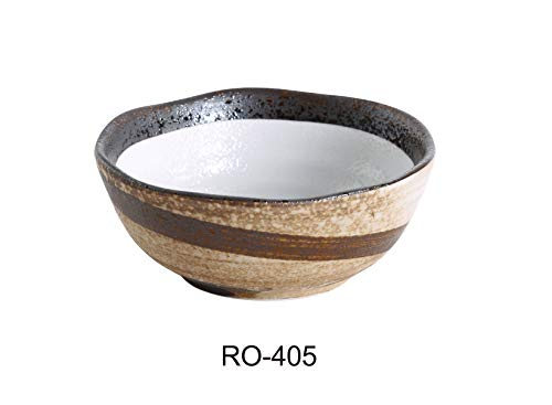 """Yanco RO-405 ROCKEYE 4.5"""" Miso Soup Bowl 8 OZ, 2.125"""" Height, China, Two-Tone, Pack of 36"""