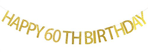 Happy 60th Birthday Banner Gold Glitter Cheers to