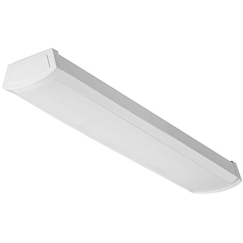 Light Wrap Around Fluorescent (Lithonia Lighting FMLWL 24 840 Contractor Select 2 ft. White LED Wraparound Flushmount- LED Ceiling Light for Garage | Attic | Basement | Home|shoplight 4000K)
