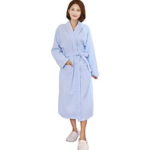 Womens Cotton Bath Robe Summer Modal Thin Dressing Gown Bathrobes Soft Night Robes Comfort Sleepwear Short Robe Pocket Women Blue Size XXL