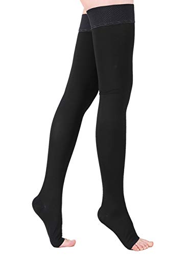 KEKING Thigh High Compression Stockings Sleeves, Firm Support 20-30mmHg with Anti-Slip Silicone Band. Open Toe Graduated Compression Socks, Pregnancy, Sports, Flight Travel, Black M