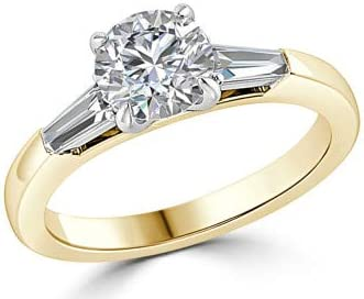 1.36 quilates Anillos de compromiso de diamantes de mujer 14K 18 quilates Boda Real Sólido Blanco Amarillo Rosa de oro Corte redondo Solitario Tamaño del anillo 12 12.5 13.5 15 16