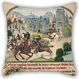 - Artistdecor Oil Painting Loyset Liédet (Flemish, Active About 1448 - 1478) - The Abduction Of Ydoire Pillow Cases 20 X 20 Inches / 50 By 50 Cm Gift Or Decor For Kids Room,boy Friend,divan,him,bar