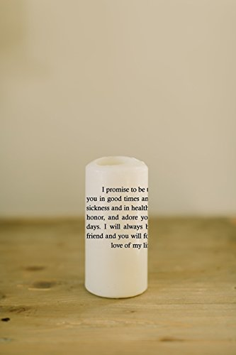 Vows Pillar Candle, House warming gift, couple, love, mr and mrs, newlyweds, wedding gift (Wedding Vows Unity Candle)