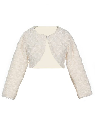 Faux Fur Long Sleeve Bolero Jacket Shrug - Ivory Girl 12